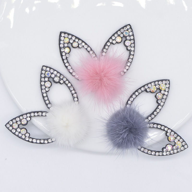 6Pcs/lots Rhinestone Rabbit Ear Appliques with Hair Ball for Hairclip/hair Band Decoration Bow Bag Crystal Patches Accessory P01