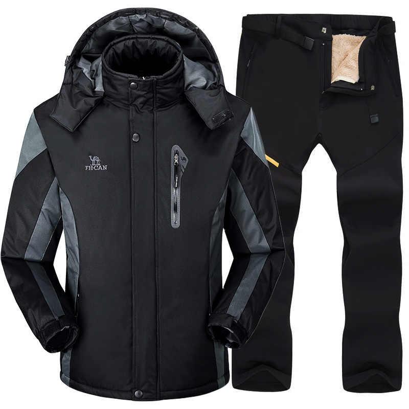 Ski Anzug Männer Winter Warme Wind Wasserdichte Outdoor Sport Schnee Jacken und Hosen Heißer Ski Ausrüstung Snowboard Jacke Männer Marke