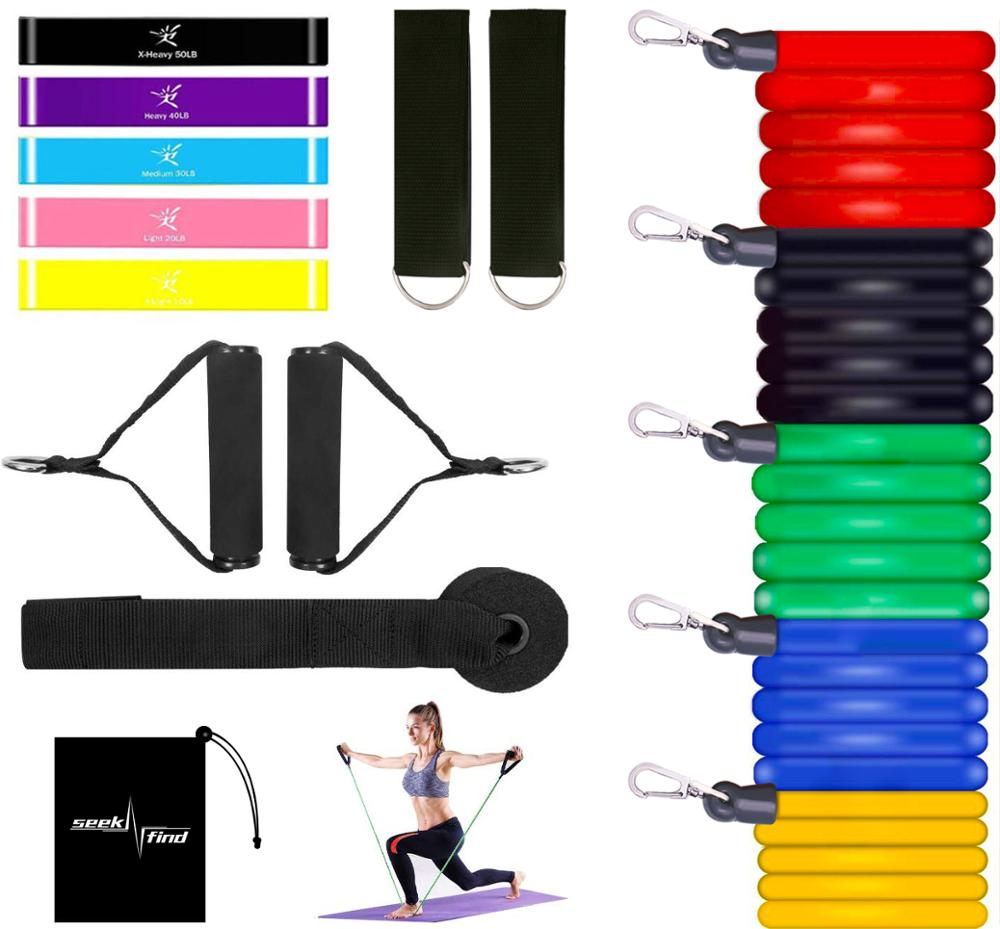 17Pcs Pull Rope Set Yoga Exercise Fitness Training Band Rubber Loop Tube Bands Gym Door Anchor Ankle Straps Resistance Bands