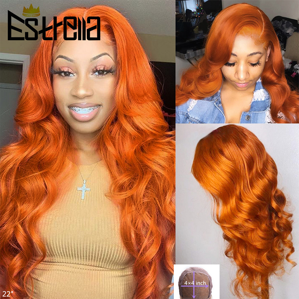 Pelucas de cabello humano de color naranja jengibre, cabello ondulado prearrancado peruano, sin pegamento, 4x4, cierre, Remy 150%