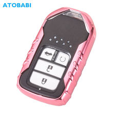 ATOBABI TPU Car Key Cover For Honda Civic CRV HRV Pilot Odyssey 2017 Pink Smart Remote Control Fob Case Keychain Protect Key Bag(China)
