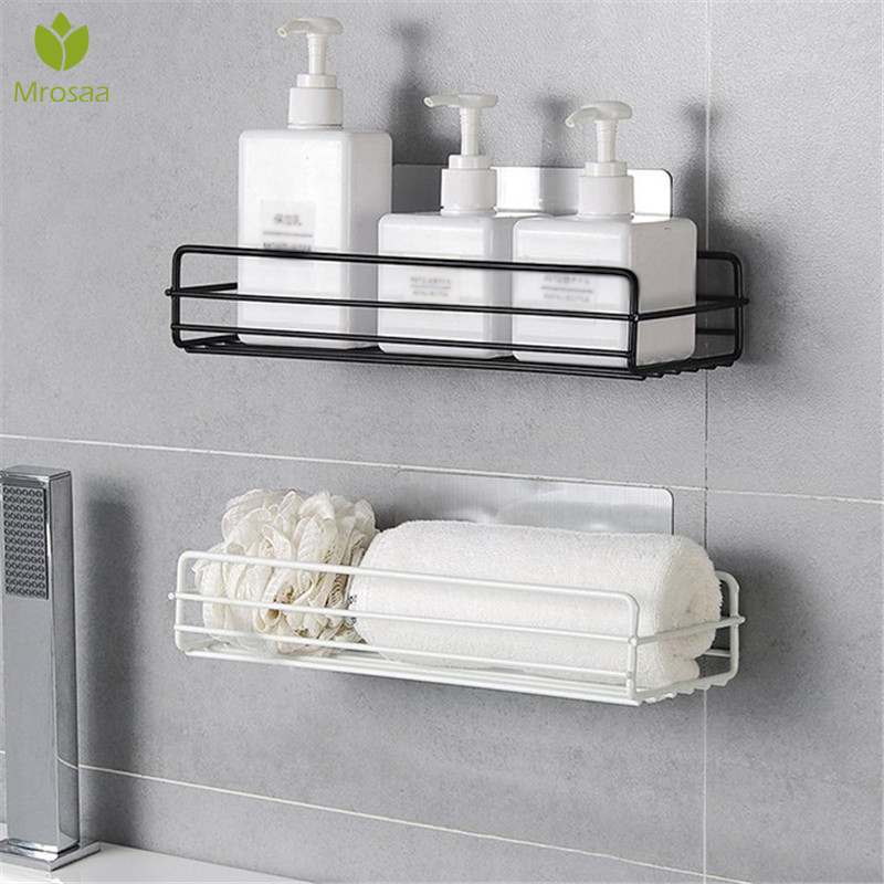 Wrought Iron Shelf Wall Hanging Rack Punch-free Toiletries Storage Rack Organizer Drain Shower Shelf Holder Kitchen Accessories