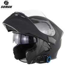 Motorcycle-Helmet Modular SOMAN Visor Flip-Up-Style Capacete with Bluetooth-Headset Matte