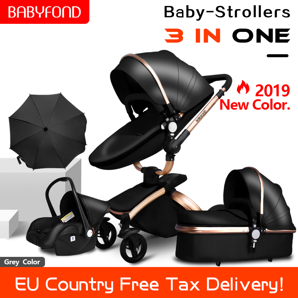 3 in 1 Baby Stroller High-end PU leather Baby Carriage Eco-friendly Durable Light Baby Pram Suit for 0-3 Years Old Newborns