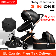 3 in 1 Baby Stroller High-end PU leather Baby
