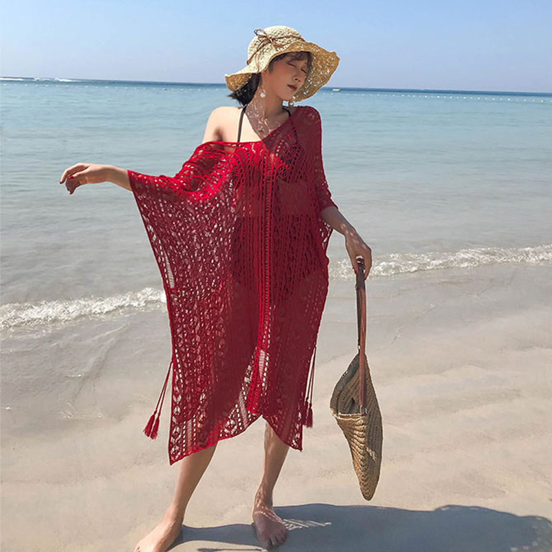 Beach Skirt 2020 New Style Immortal Seaside Holiday Women Dress Large Size Fat Mm Students Korean-style Blouse Hollow Out Loose-
