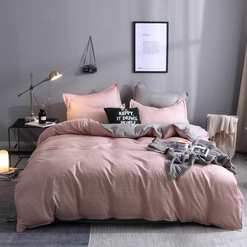PORSIA 4Pcs Pink Lattice Home Bedding Sets Full King Twin Queen King Size Duvet Cover Set Pillowcase Quilt Pillow Bed Sheet Kit