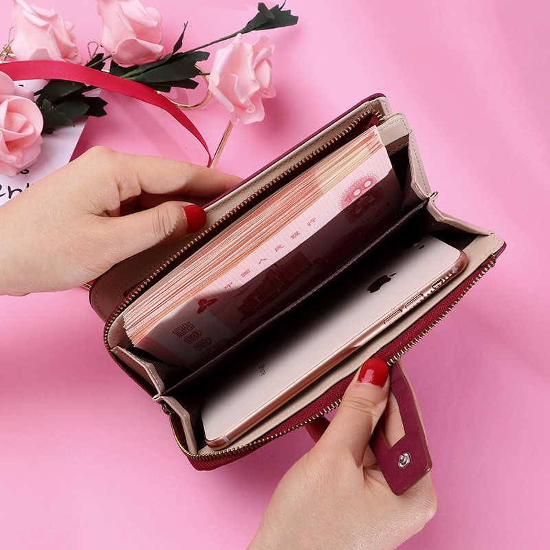 Unishow uzun kadın cüzdan büyük kadın çanta debriyaj katı rahat bayan cüzdan bozuk para cüzdanı cep telefonu cüzdan kart sahipleri