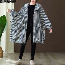DIMANAF Plus Size Women Jackets Coats Autumn Outerwear Zipper Bat Sleeved Oversize Female Loose Hooded Striped Clothes 150KG Fit