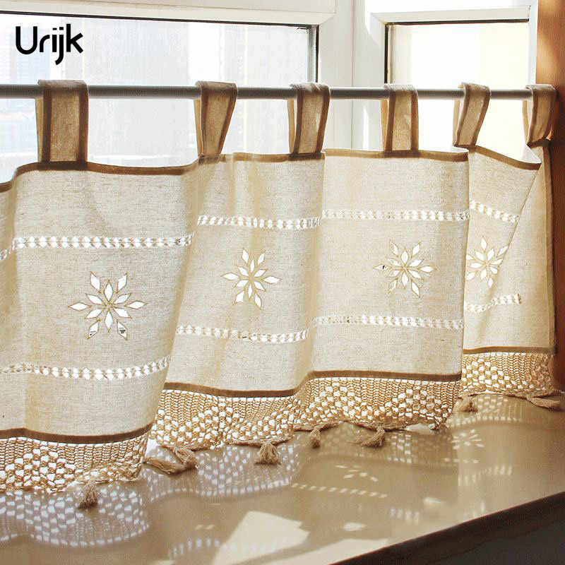 1PC Cotton Linen Half-curtain Handmade Tassel Embroideried Floral Kitchen Curtains Pastoral Short Panel Curtain for Cafe