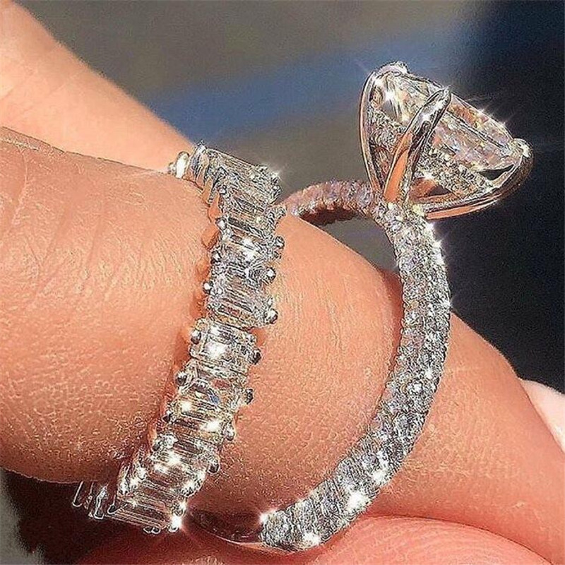 Unique Luxury Jewelry Couple Rings 925 Sterling Silver Princess White Topaz CZ Diamond Gemstones Women Wedding Bridal Ring Set