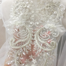 2 חתיכות למעלה איכות 3D כסף חוט חרוזים נצנצים תחרה Applique פרח תיקון Applique חתונת שמלת אבזריםתלאים