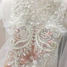 Applique de dentelle perlée et pailletée en fil argenté 3D, 2 pièces de qualité supérieure, Patch floral, accessoires pour robe de mariée