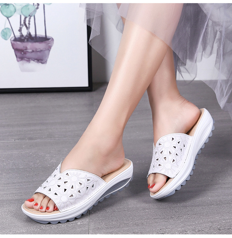 AH 1975-2020 Genuine Leather Womens Flat Slides Casual Hollows Summer Beach Flip Flops-7