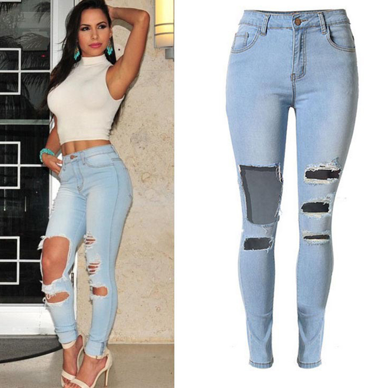 Stretch Skinny Ripped Jeans Women Destroyed Pencil Pants Elastic Tights Denim Trousers Distressed Boyfriend Streetwear Plus Size
