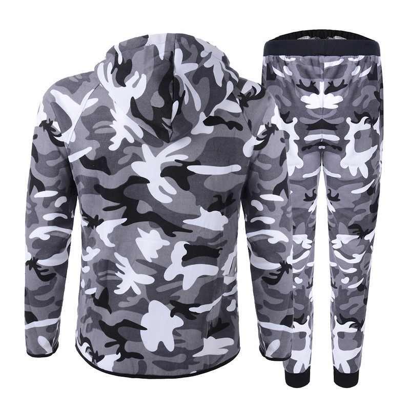2019 mężczyźni przyczynowe kamuflaż drukuj zestawy Camo kurtka + spodnie 2Pc dres odzież sportowa bluzy z kapturem bluza z kapturem i spodnie garnitur Plus rozmiar