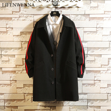 LIFENWENNA Striped Men's Trench Coat New Fashion Chinese Character Print Mid-Long Trench Coat Men Casual Woolen Coats Male M-5XL