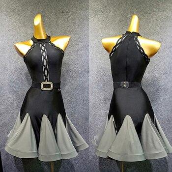 New Latin Dance Dress Women Black Dress Ladies Tango Ballroom Flamengo Tango Modern Salsa Competitive Latin Dance Dress