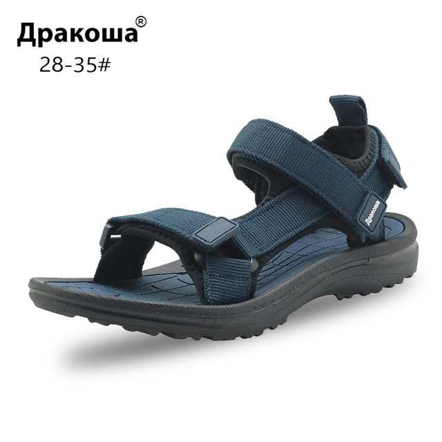 Apakowa Unisex Little Kid Boys Girls Summer Peep Toe Beach Walking 3 Strap Sport Sandals Child Washable Quick Drying Water Shoes