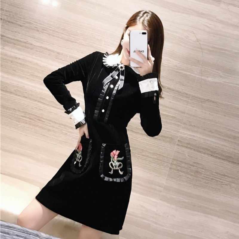 ארוך שרוול בובת שמלת צווארון לנשים מעצב מיני קטיפה נשים שמלות רקמה פרחוני רטרו שחור שמלת נקבה סתיו