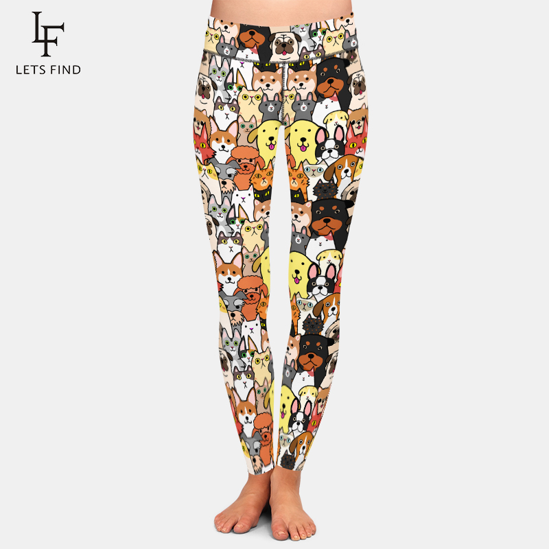 LETSFIND Hot Sale Cute Animals Cartoon Dogs Digital Printing Women Leggings High Waist Plus Size Soft Fitness Leggings