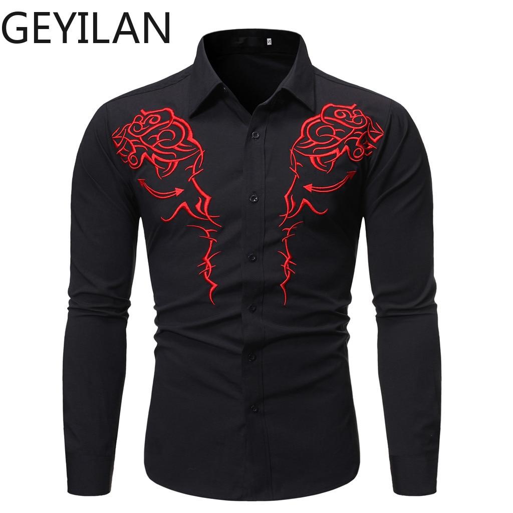 Men Shirt Long Sleeve Embroidery Print Shirt Male Streetwear Casual Camisa Social Masculina Hawaiian Shirts Camisas Hombre 10.8