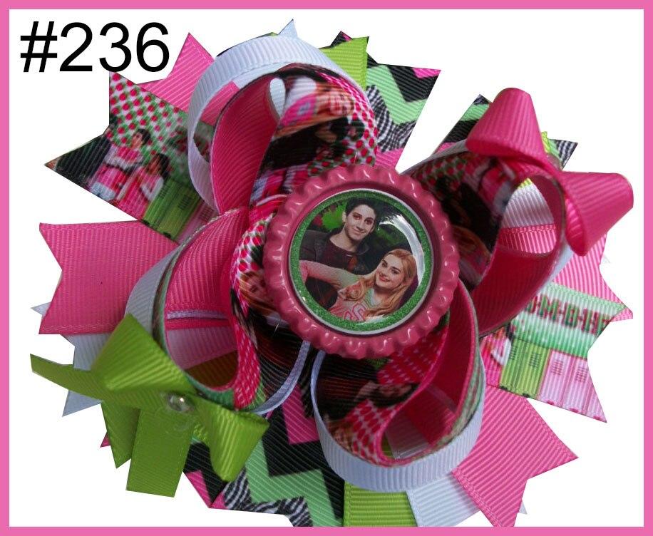 Новинка, 50 шт., подарочные зажимы для волос 5,5 дюйма, популярный бант для волос с мультяшными рисунками, заколки на подкладке, бутик, заколки для волос для девочек, Банты-B