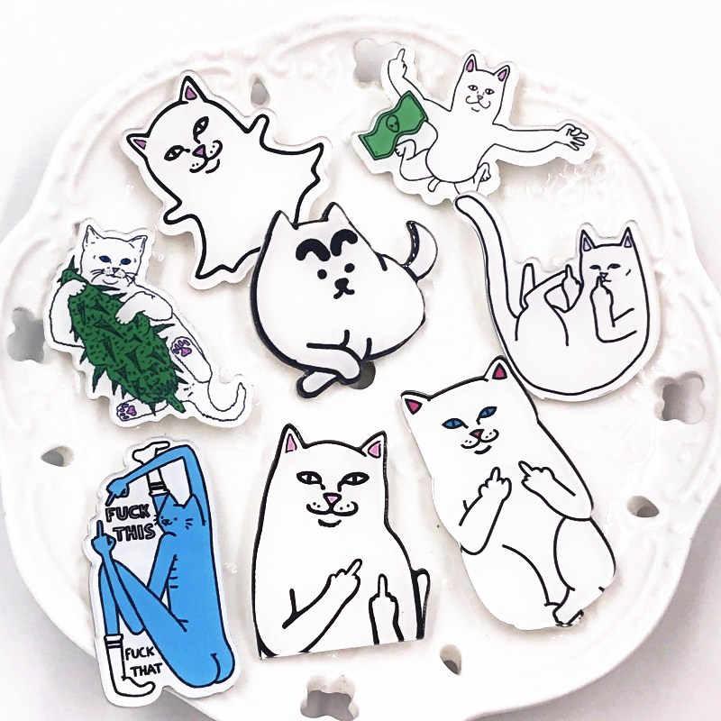 มาใหม่ 1Pc แมวนิ้วกลางแมวตลก pins lapel pin ป้ายเข็มกลัด Diy กระเป๋าเป้สะพายหลังหมวกอุปกรณ์เสริมผู้หญิงผู้ชายเด็กของขวัญ