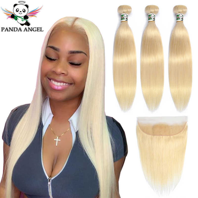Panda 613 Blonde Straight 13*4 Lace Frontal Closure With Bundles Indian Remy 100% Human Hair Blonde 613 Bundles With Frontal