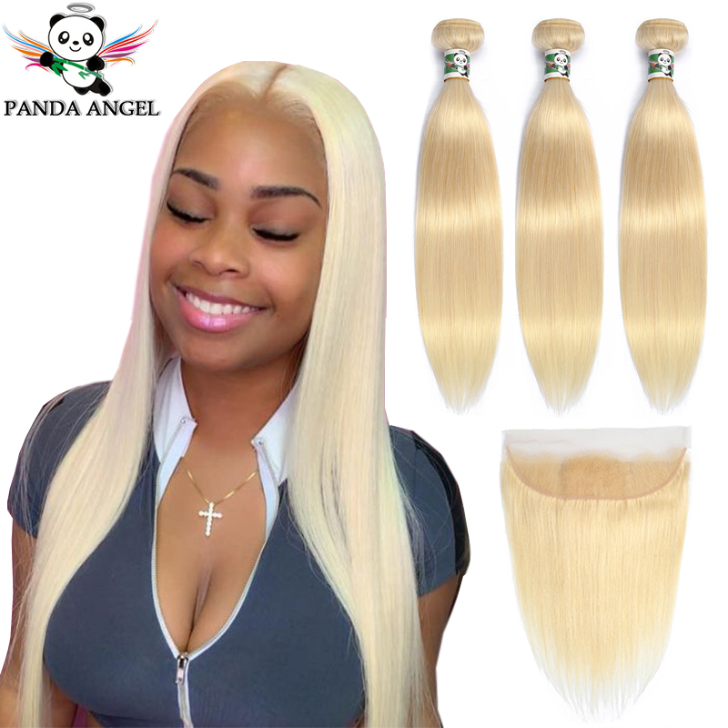 Panda 613 Blonde Straight 13*4 Lace Frontal Closure With Bundles Remy Indian Human Hair Blonde 613 Bundles With Frontal Closure