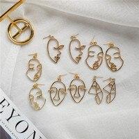 Mode visage humain femmes boucles d'oreilles goutte Punk creux abstrait métal pendentif boucles d'oreilles à la main femme Bijoux