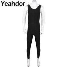 Мужские взрослые хорошо подходят один кусок совок шеи без рукавов плотно облегающий сплошной цвет жилет облегающий гимнастический костюм Одежда для гимнастики и танцев трико
