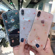 Gold foil Epoxy real flower phone case for iPhone X XS XR XSMax 8 7 6 6S PluS new creative silicone anti-drop protection cover