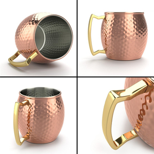 Image 5 - 4 Pieces 550ml 18 Ounces Hammered Copper Plated Moscow Mule Mug Beer Cup Coffee Cup Mug Copper Plated