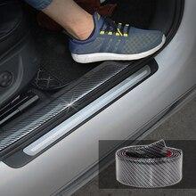 5D araba çıkartmaları karbon Fiber kauçuk Styling kapı eşiği koruyucu ürünler Toyota BMW için Audi Mazda Ford Hyundai vb aksesuarları