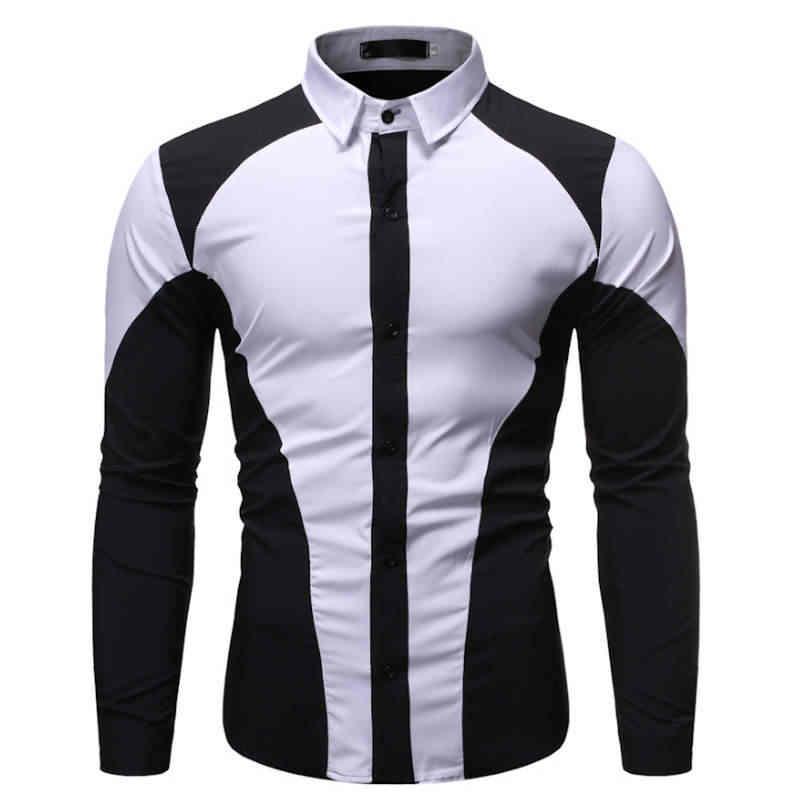2019 herbst Neue männer Silk Satin Gedruckt Shirts Männlichen Slim Fit Langarm Party Shirts Männer Druck Business Hemd tops S-2XL