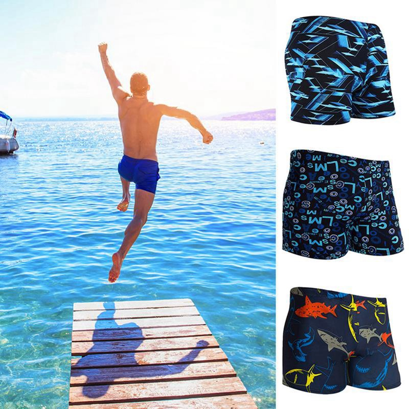 New Costume Da Bagno Uomo Men Trunks Printed Drawstring Lightweight Breathable Swimming Surfing Shorts Swimwear Zwembroek Heren