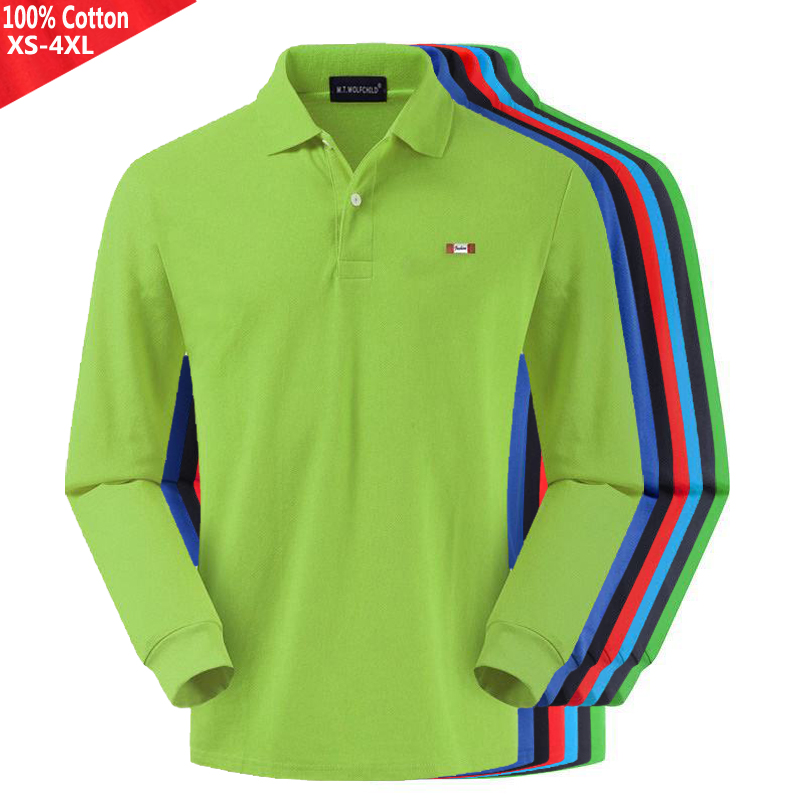 100% Cotton 2019 Top Quality New Spring Autumn Men's Long Sleeve Polos Shirts Casual Mens Polos Shirts Fashion Mens Tops XS-4XL