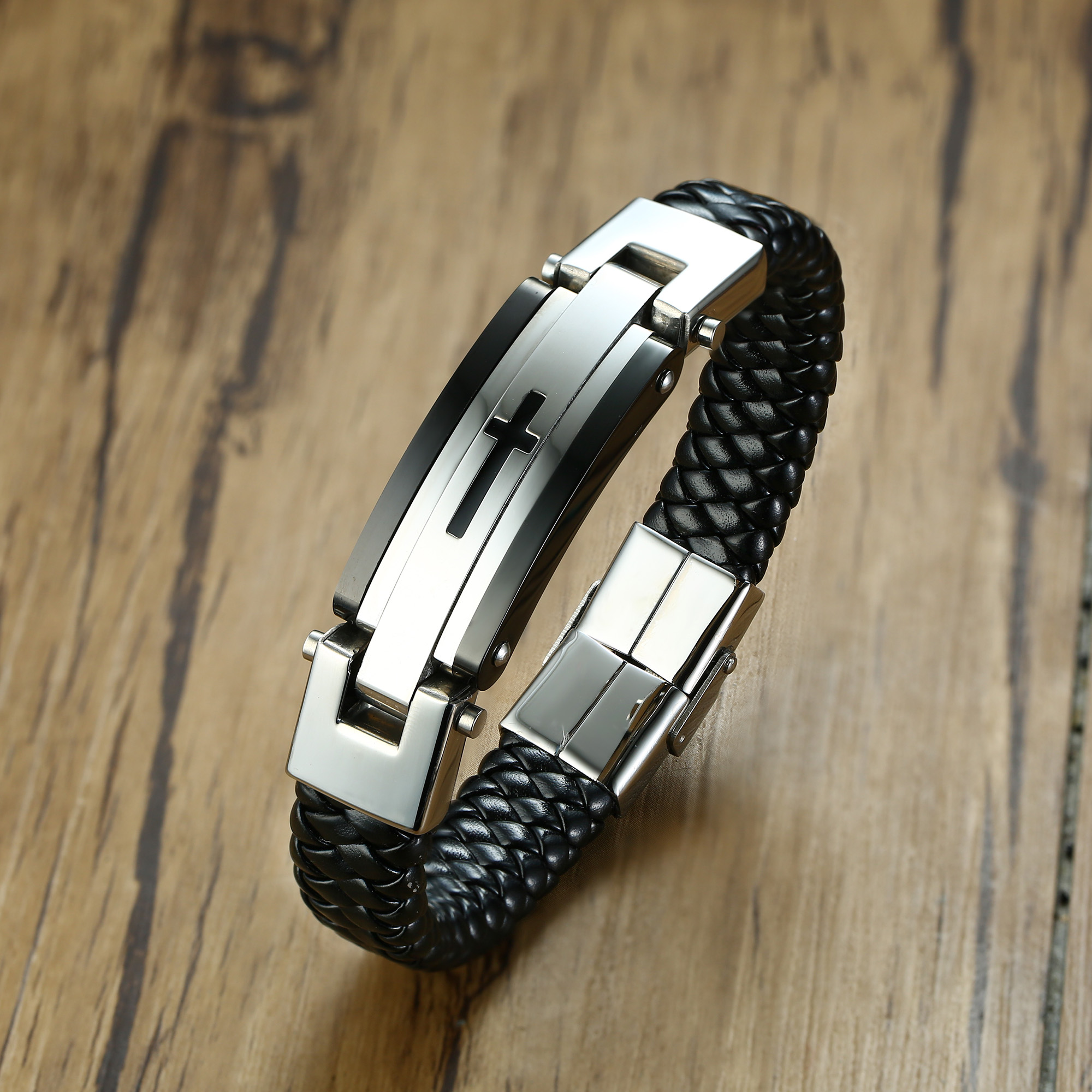 Classic and Bold Stainless Steel Charm Braided Leather Braclet Men's Crook Brand Cross Leather Bracelet Women Gift Friends