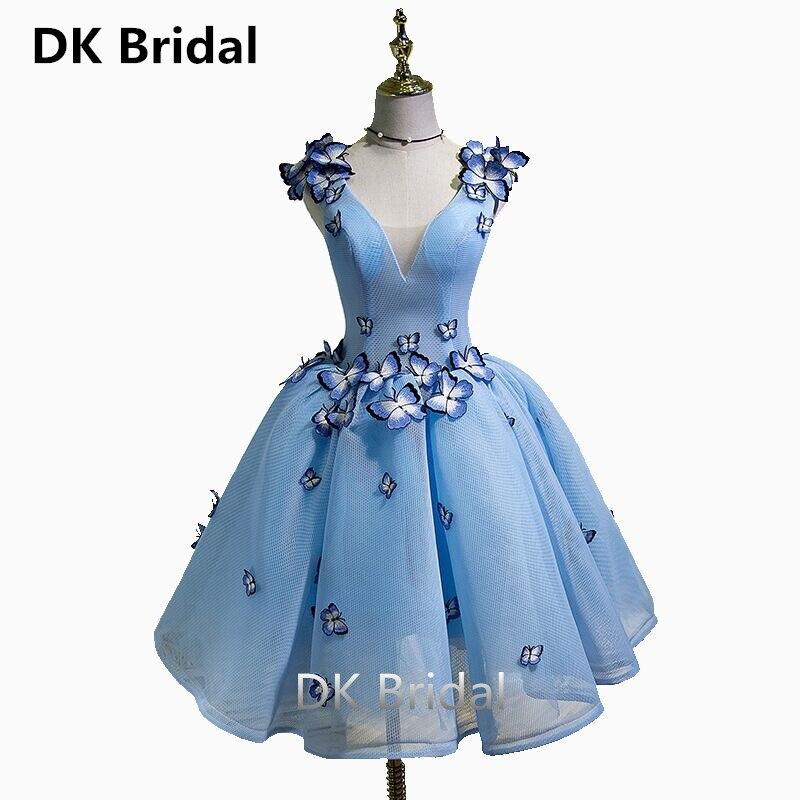 Élégant bleu ciel robes de bal 2019 Sexy robe de bal courte col en V papillons Appliques à lacets au-dessus du genou Graduation robes de soirée