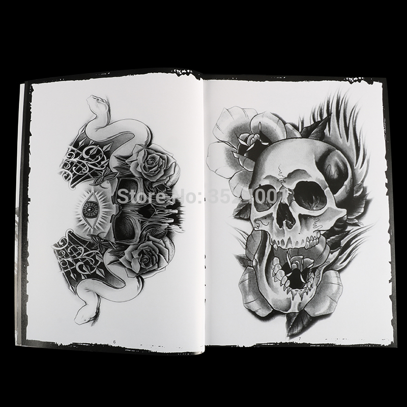 Image 3 - Newst 76 Pages A4 Tattoo Book Black Sexy Skull Design Sketch Flash Book Tattoo Flash Sketchbook Free Shipping B5-in Tattoo accesories from Beauty & Health
