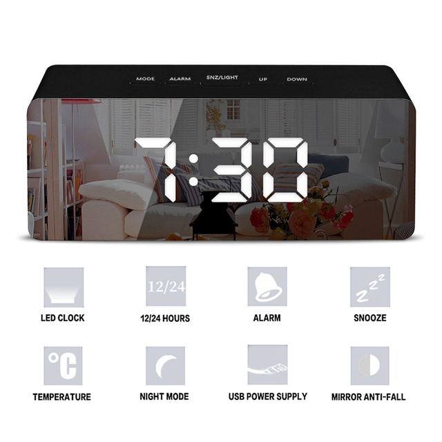 Led Mirror Alarm Clock Digital Snooze Table Clock With Thermometer USB Rechargeable Large Electronic Display Multifunction