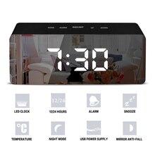 Led espelho despertador digital snooze relógio de mesa com termômetro usb recarregável grande display eletrônico multifuncional
