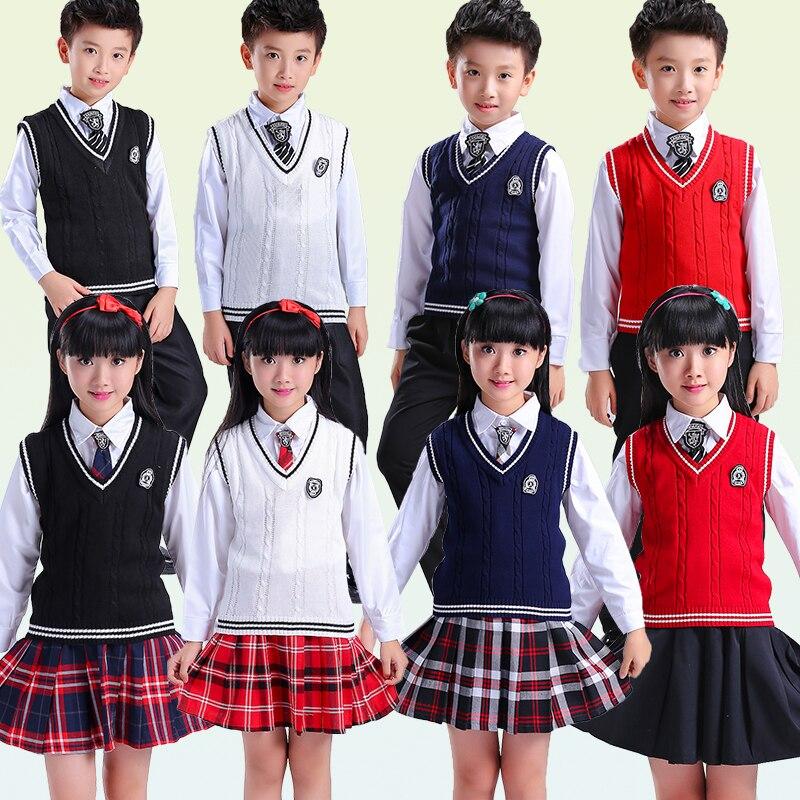Winter School Uniforms Sweater Vest+Shirt+Skirt Sets High End Student Costume Child School Uniform