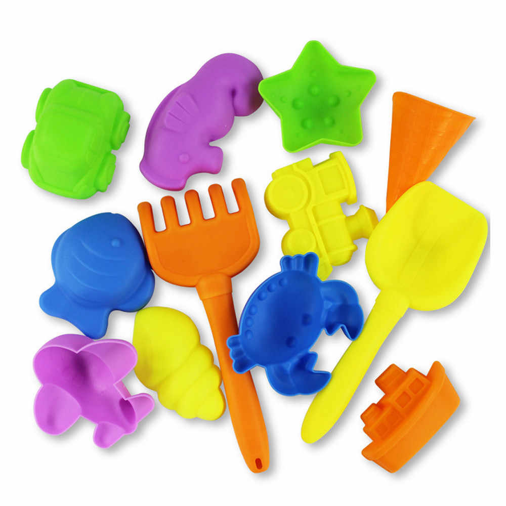 Beach Toys 12 Pcs Sand Beach Castle Bucket Kids Toys Spade Shovel Rake Water Tools Beach Seaside Toys for children new drop ship