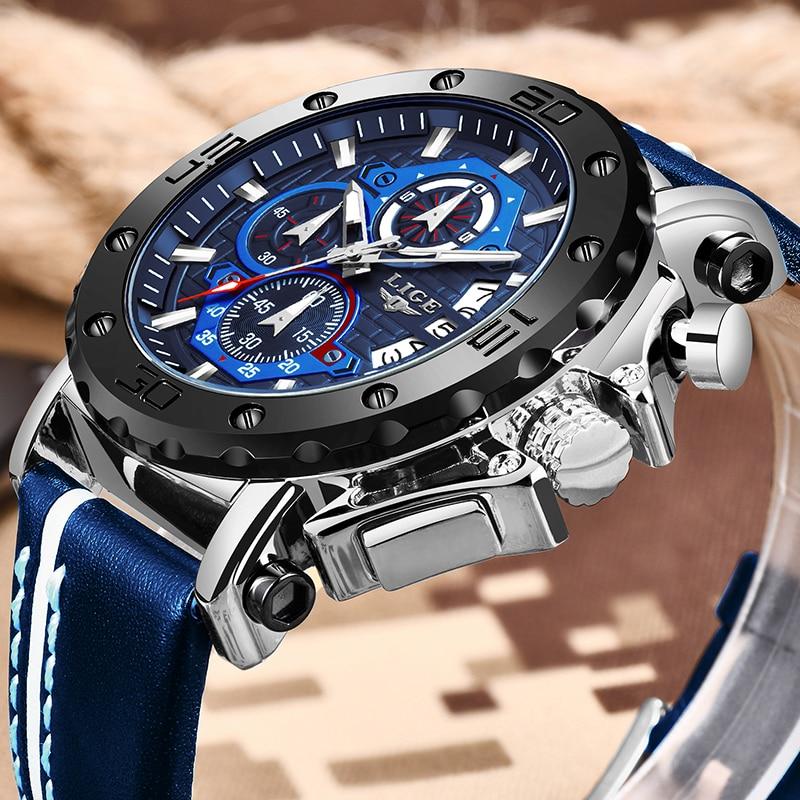 2020 LIGE New Mens Watches Top Brand Luxury Big Dial Military Quartz Watch Leather Waterproof Sport Wristwatch Relogio Masculino(China)