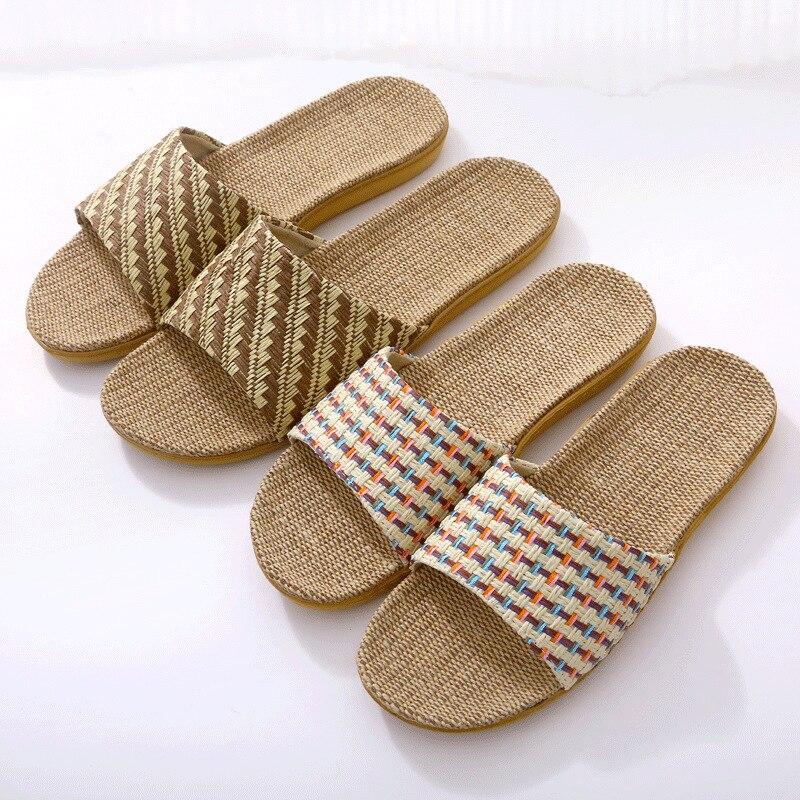 Suihyung Women Flax Slippers 2020 New Couple Indoor Shoes Flip Flops Linen Weave Flat Slides Ladies Summer Casual Beach Sandals