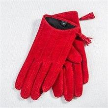 Женские осенне-зимние перчатки из овчины на молнии с кисточками, замшевые кожаные перчатки для вождения, короткие женские перчатки из натуральной кожи, локомотив DZZP