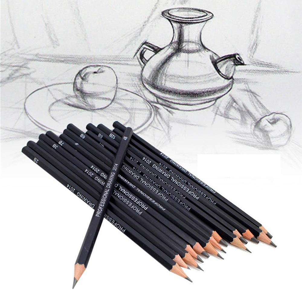 14 Pcs/set Professional Sketch And Drawing Writing Pencil Stationery Supplies 1B 2B 3B 4B 5B 6B 7B 8B 10B 12B 2H 4H 6H HB Pencil