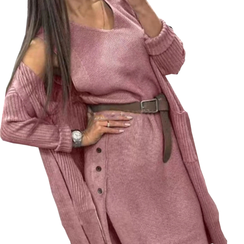 TAOVK Autumn Women Knitted Cardigan Loose Sweater Coatd Dress Two Piece Set With Belt